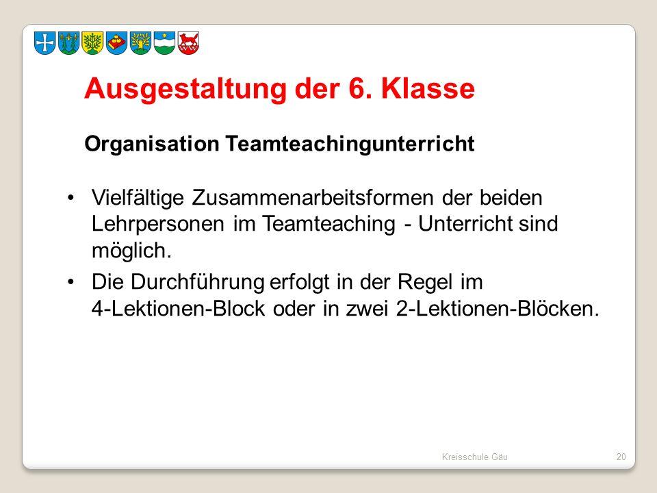 Kreisschule Gäu20 Ausgestaltung der 6. Klasse Organisation Teamteachingunterricht Vielfältige Zusammenarbeitsformen der beiden Lehrpersonen im Teamtea