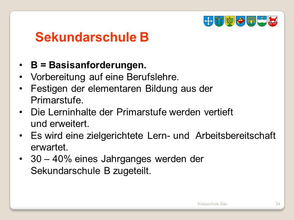 Kreisschule Gäu24 Sekundarschule B B = Basisanforderungen. Vorbereitung auf eine Berufslehre. Festigen der elementaren Bildung aus der Primarstufe. Di