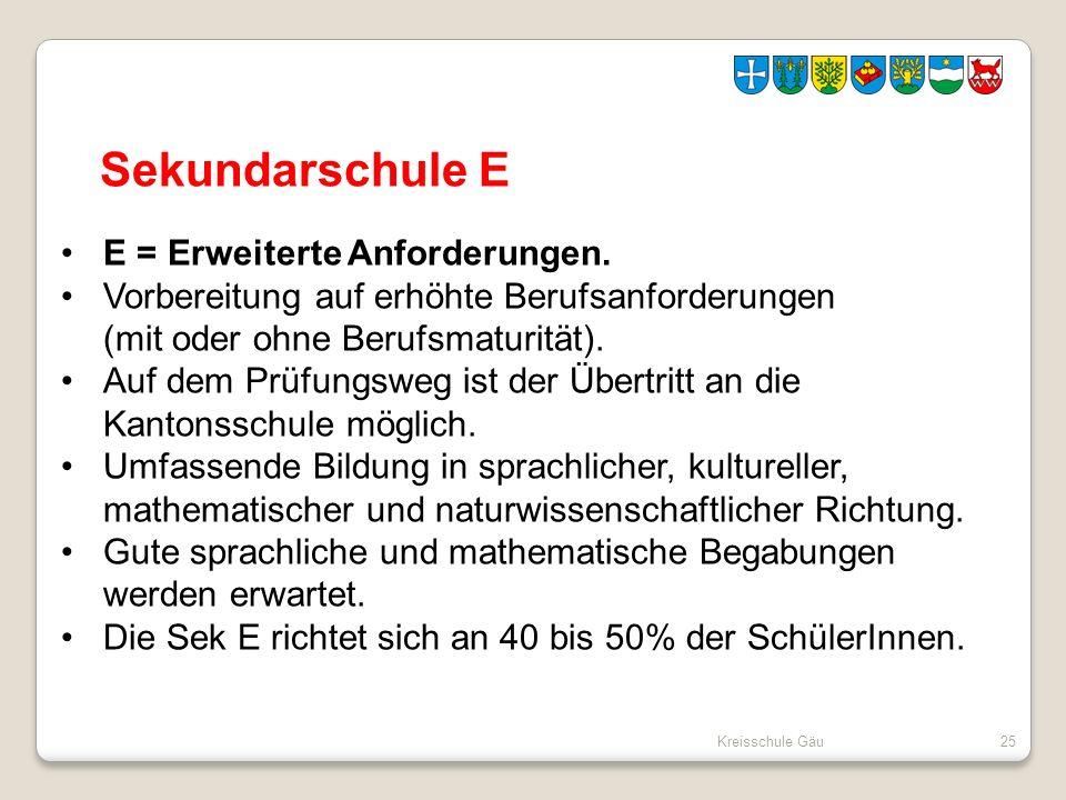 Kreisschule Gäu25 Sekundarschule E E = Erweiterte Anforderungen. Vorbereitung auf erhöhte Berufsanforderungen (mit oder ohne Berufsmaturität). Auf dem