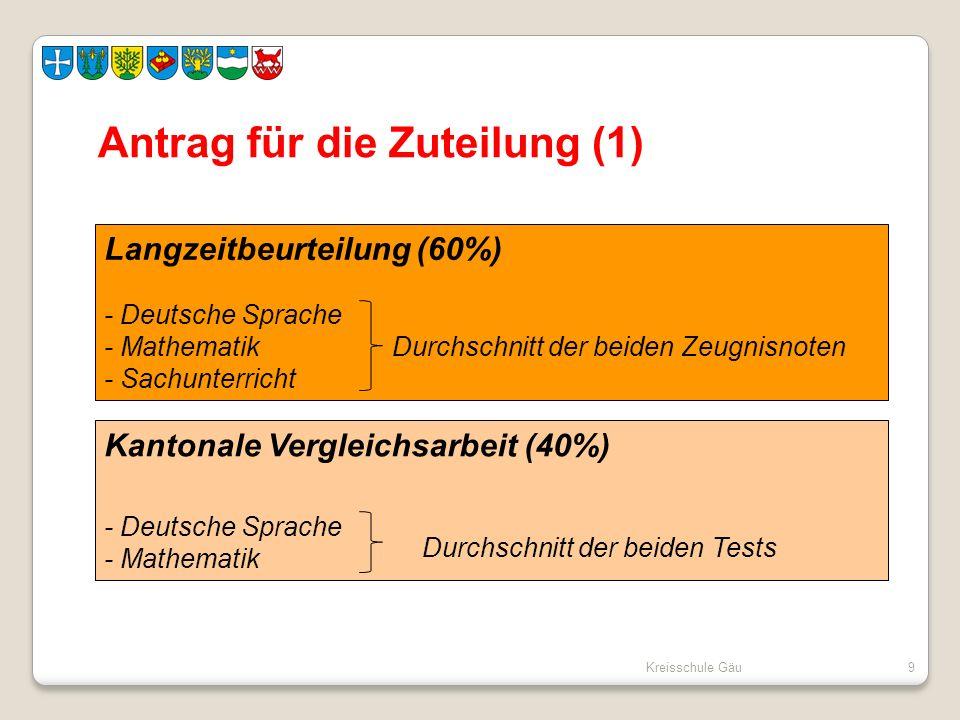 Kreisschule Gäu9 Antrag für die Zuteilung (1) Langzeitbeurteilung (60%) - Deutsche Sprache - MathematikDurchschnitt der beiden Zeugnisnoten - Sachunte