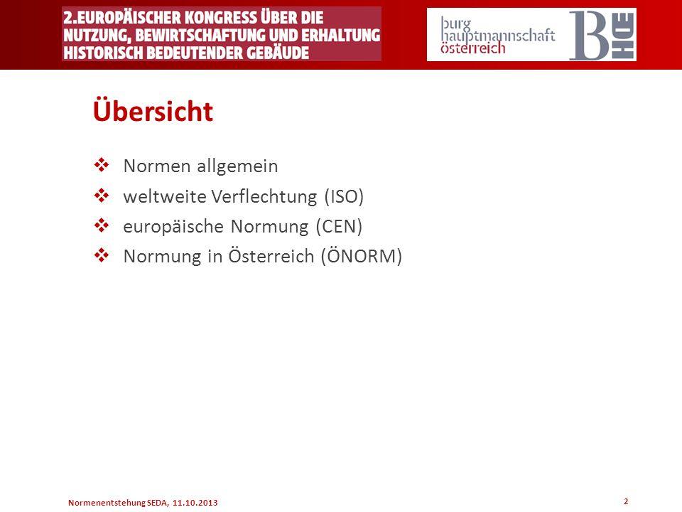 Normenentstehung SEDA, 11.10.2013 Übersicht Normen allgemein weltweite Verflechtung (ISO) europäische Normung (CEN) Normung in Österreich (ÖNORM) 2