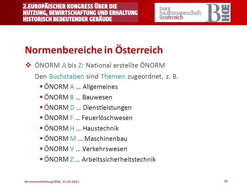 Normenentstehung SEDA, 11.10.2013 24 Normenbereiche in Österreich ÖNORM A bis Z: National erstellte ÖNORM Den Buchstaben sind Themen zugeordnet, z. B.