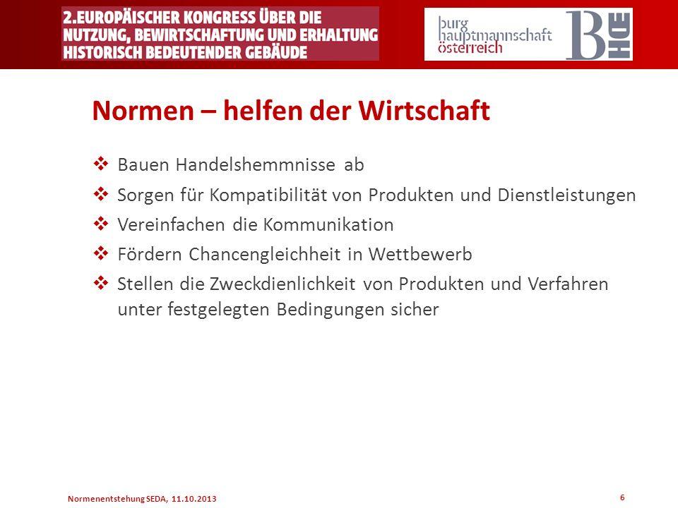 Normenentstehung SEDA, 11.10.2013 Normen – helfen der Wirtschaft Bauen Handelshemmnisse ab Sorgen für Kompatibilität von Produkten und Dienstleistunge