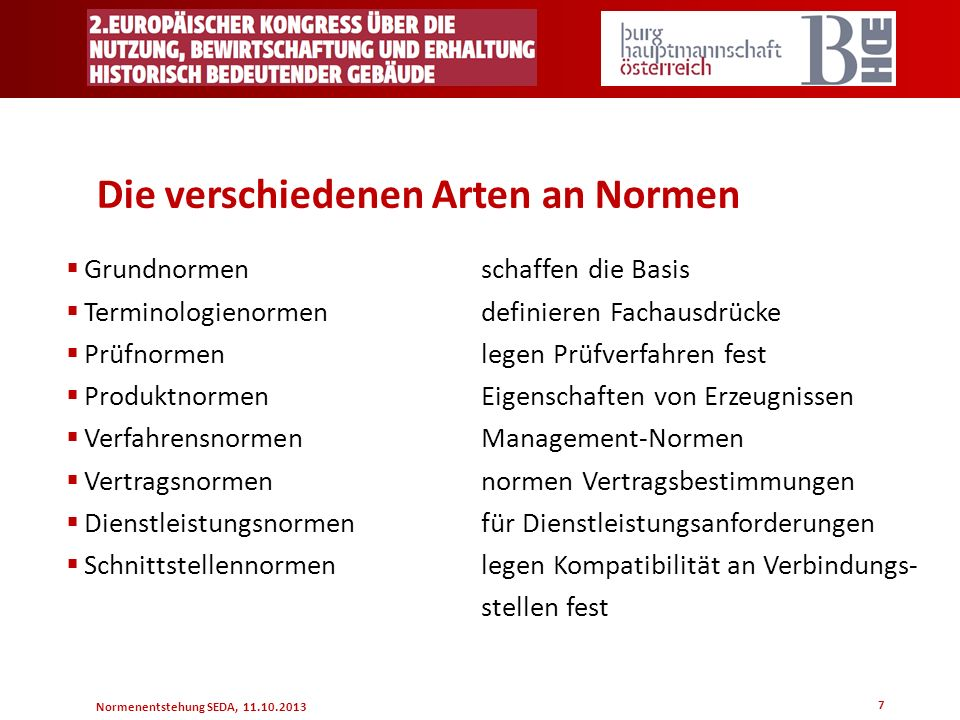 Normenentstehung SEDA, 11.10.2013 7 Die verschiedenen Arten an Normen Grundnormenschaffen die Basis Terminologienormendefinieren Fachausdrücke Prüfnor