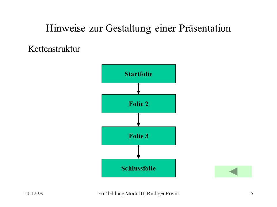 10.12.99Fortbildung Modul II, Rüdiger Prehn5 Hinweise zur Gestaltung einer Präsentation Kettenstruktur Startfolie Folie 2 Folie 3 Schlussfolie