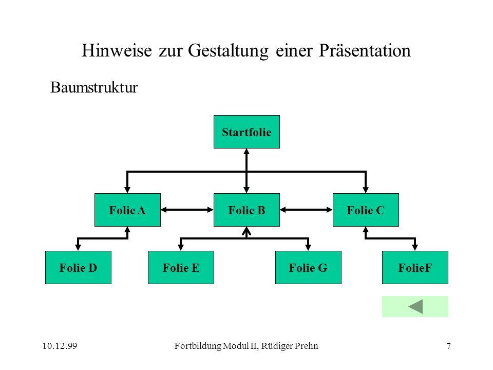 10.12.99Fortbildung Modul II, Rüdiger Prehn7 Hinweise zur Gestaltung einer Präsentation Baumstruktur Folie B Startfolie Folie A Folie EFolie GFolie DF