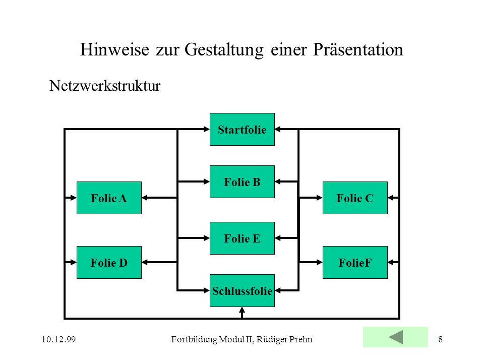 10.12.99Fortbildung Modul II, Rüdiger Prehn8 Hinweise zur Gestaltung einer Präsentation Netzwerkstruktur Folie B Startfolie Folie A Folie E Schlussfol