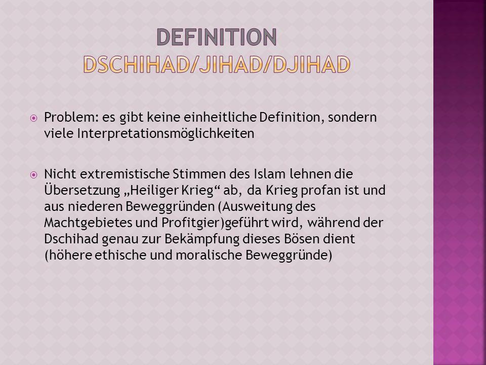 Problem: es gibt keine einheitliche Definition, sondern viele Interpretationsmöglichkeiten Nicht extremistische Stimmen des Islam lehnen die Übersetzu