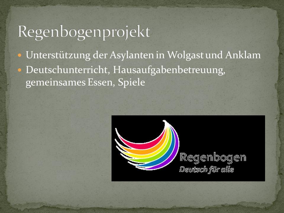 Unterstützung der Asylanten in Wolgast und Anklam Deutschunterricht, Hausaufgabenbetreuung, gemeinsames Essen, Spiele
