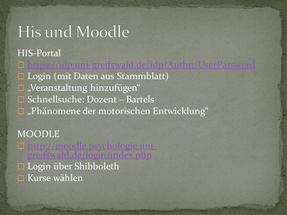 HIS-Portal https://idp.uni-greifswald.de/idp/Authn/UserPassword Login (mit Daten aus Stammblatt) Veranstaltung hinzufügen Schnellsuche: Dozent – Barte