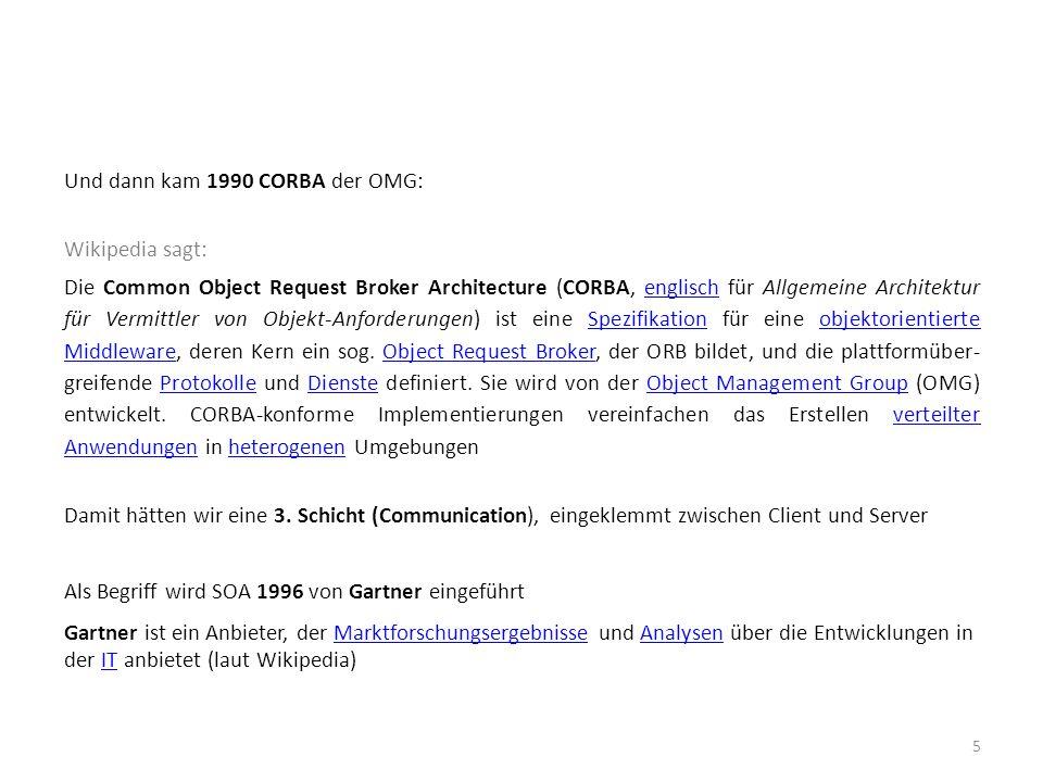 Und dann kam 1990 CORBA der OMG: Wikipedia sagt: Die Common Object Request Broker Architecture (CORBA, englisch für Allgemeine Architektur für Vermitt