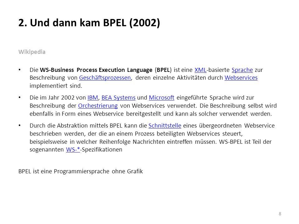 2. Und dann kam BPEL (2002) Wikipedia Die WS-Business Process Execution Language (BPEL) ist eine XML-basierte Sprache zur Beschreibung von Geschäftspr