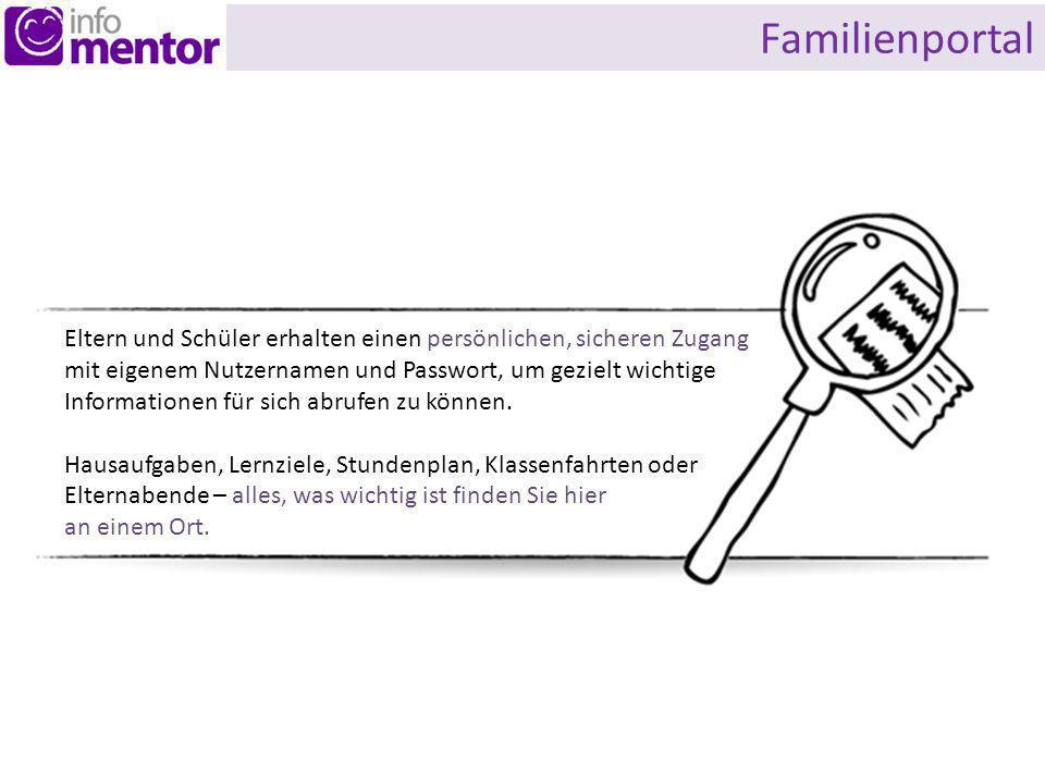 Familienportal Eltern und Schüler erhalten einen persönlichen, sicheren Zugang mit eigenem Nutzernamen und Passwort, um gezielt wichtige Informationen für sich abrufen zu können.
