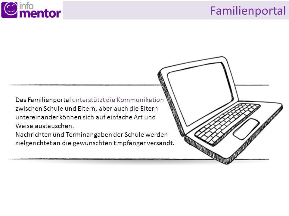 Familienportal Das Familienportal unterstützt die Kommunikation zwischen Schule und Eltern, aber auch die Eltern untereinander können sich auf einfache Art und Weise austauschen.
