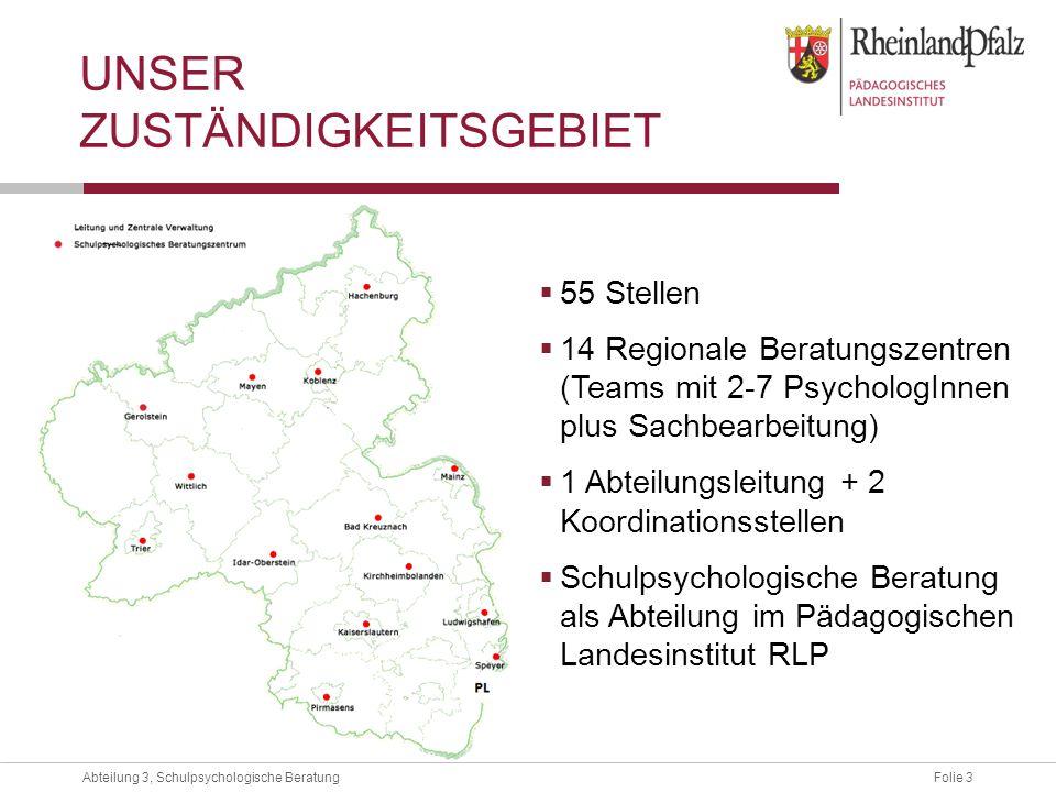 Folie 3Abteilung 3, Schulpsychologische Beratung UNSER ZUSTÄNDIGKEITSGEBIET 55 Stellen 14 Regionale Beratungszentren (Teams mit 2-7 PsychologInnen plu