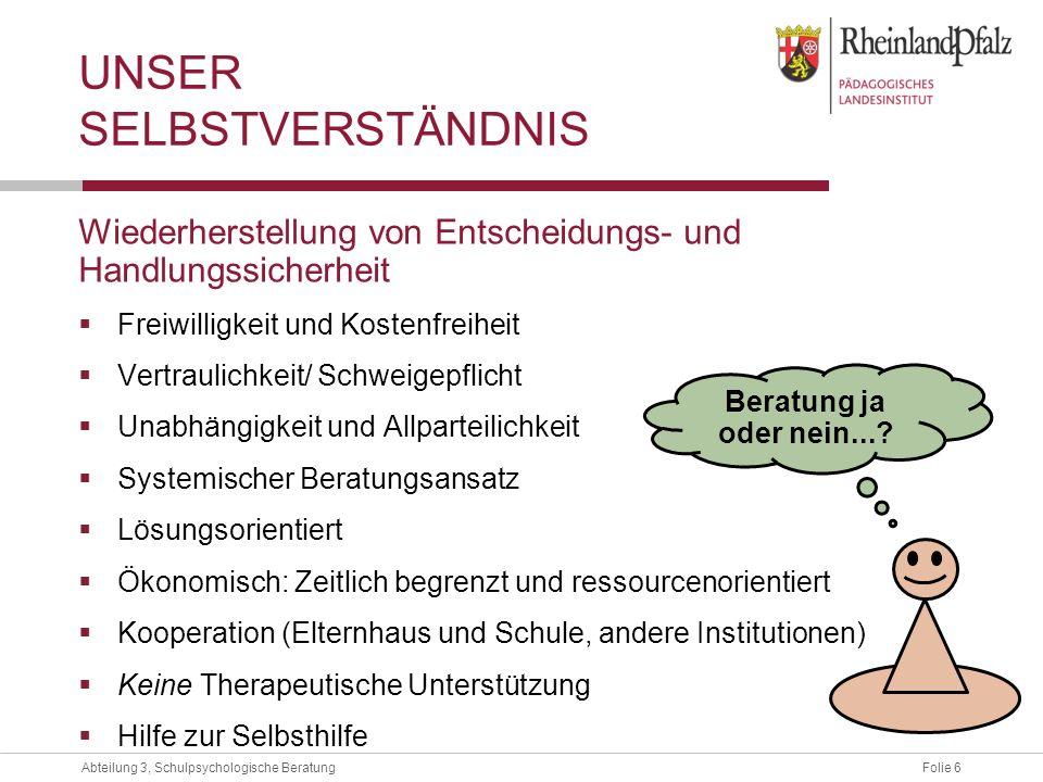 Folie 6Abteilung 3, Schulpsychologische Beratung Wiederherstellung von Entscheidungs- und Handlungssicherheit Freiwilligkeit und Kostenfreiheit Vertra
