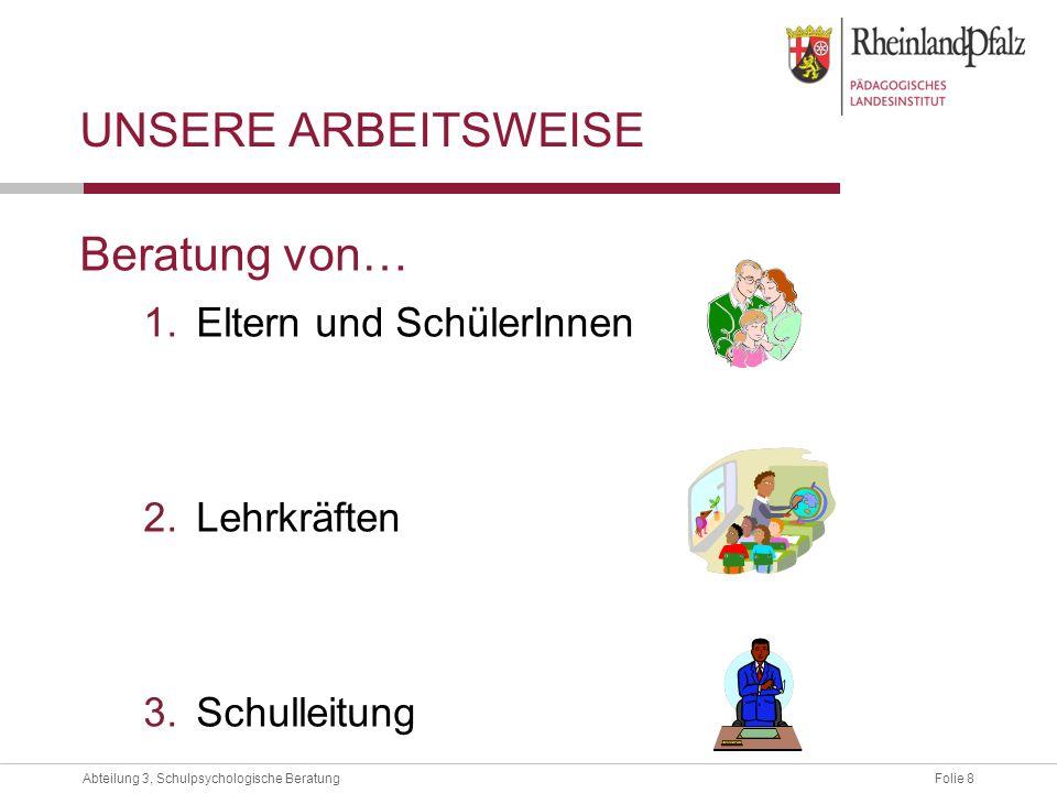 Folie 9Abteilung 3, Schulpsychologische Beratung UNSERE ARBEITSWEISE … hat AD(H)S.