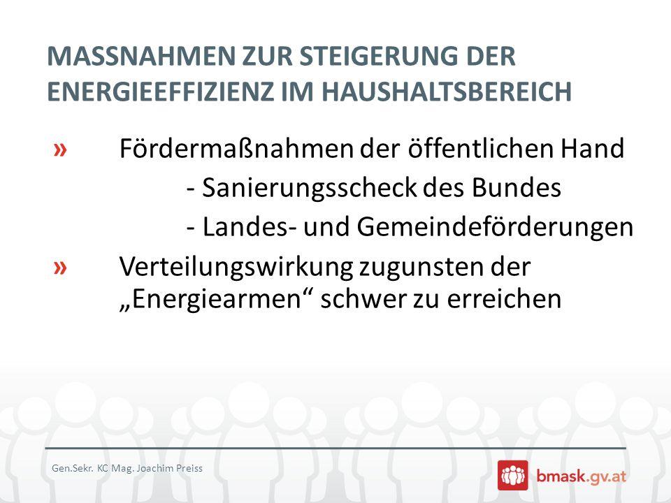 BMASK PROJEKT ENERGIEBERATUNG FÜR EINKOMMENSSCHWACHE HAUSHALTE » Beteiligte: BMASK + Wien, Steiermark und Vorarlberg in Zusammenarbeit mit nichtstaatlichen Sozialberatungsstellen, die die KlientInnen zur Beratung vermitteln » Persönliche kostenlose Vor-Ort- Energieberatung von sozial schwachen Haushalten » Goody Pack im Wert von 125 EUR » Projektlaufzeit: Dezember 2010 bis April 2014 Gen.Sekr.
