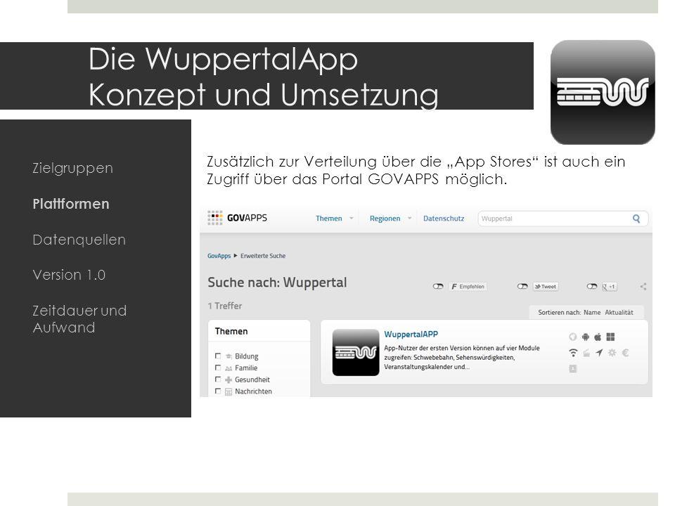 Die WuppertalApp Konzept und Umsetzung Zusätzlich zur Verteilung über die App Stores ist auch ein Zugriff über das Portal GOVAPPS möglich. Zielgruppen