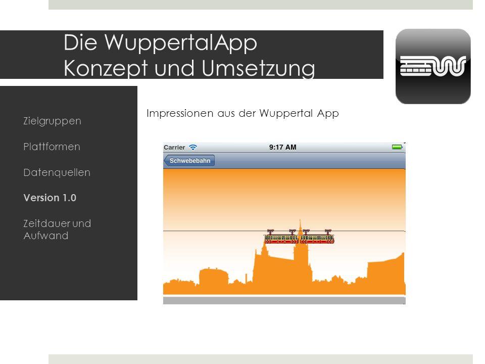 Die WuppertalApp Konzept und Umsetzung Zielgruppen Plattformen Datenquellen Version 1.0 Zeitdauer und Aufwand Screenshots?? Impressionen aus der Wuppe