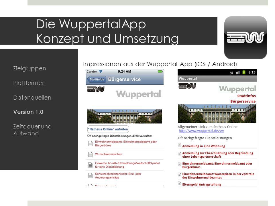 Die WuppertalApp Konzept und Umsetzung Zielgruppen Plattformen Datenquellen Version 1.0 Zeitdauer und Aufwand Impressionen aus der Wuppertal App (iOS