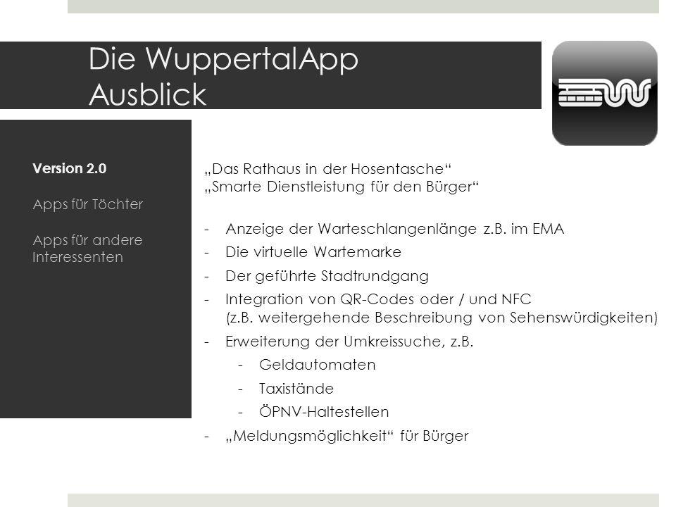 Die WuppertalApp Ausblick Version 2.0 Apps für Töchter Apps für andere Interessenten Das Rathaus in der Hosentasche Smarte Dienstleistung für den Bürg
