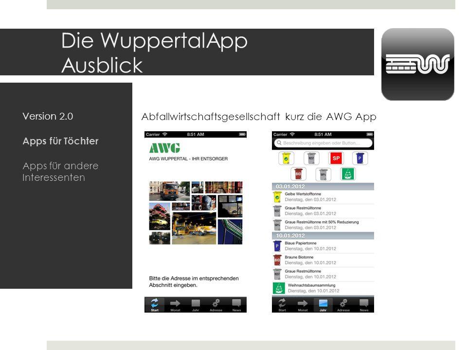 Die WuppertalApp Ausblick Version 2.0 Apps für Töchter Apps für andere Interessenten Abfallwirtschaftsgesellschaft kurz die AWG App