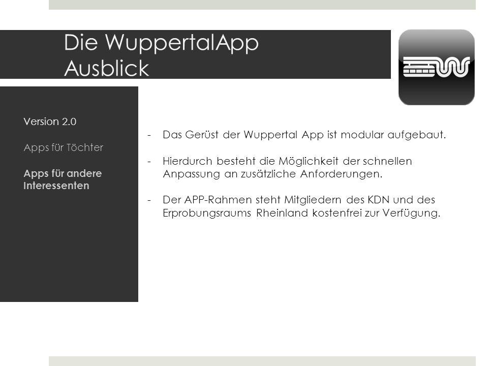 Die WuppertalApp Ausblick Version 2.0 Apps für Töchter Apps für andere Interessenten -Das Gerüst der Wuppertal App ist modular aufgebaut. -Hierdurch b