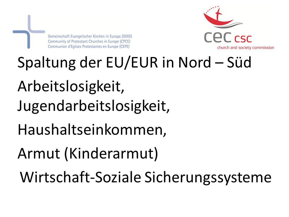 Spaltung der EU/EUR in Nord – Süd Arbeitslosigkeit, Jugendarbeitslosigkeit, Haushaltseinkommen, Armut (Kinderarmut) Wirtschaft-Soziale Sicherungssysteme