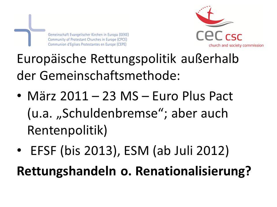 Europäische Rettungspolitik außerhalb der Gemeinschaftsmethode: März 2011 – 23 MS – Euro Plus Pact (u.a. Schuldenbremse; aber auch Rentenpolitik) EFSF