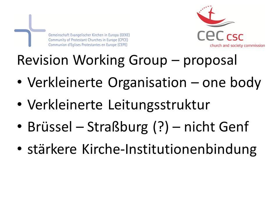 Revision Working Group – proposal Verkleinerte Organisation – one body Verkleinerte Leitungsstruktur Brüssel – Straßburg (?) – nicht Genf stärkere Kir