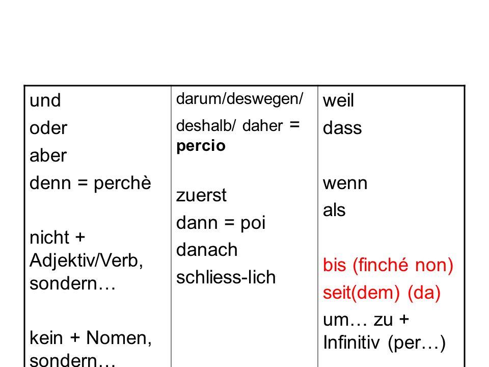 und oder aber denn = perchè nicht + Adjektiv/Verb, sondern… kein + Nomen, sondern… darum/deswegen/ deshalb/ daher = percio zuerst dann = poi danach sc