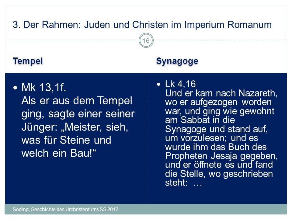 Tempel Synagoge Söding, Geschichte des Urchristentums SS 2012 Lk 4,16 Und er kam nach Nazareth, wo er aufgezogen worden war, und ging wie gewohnt am S