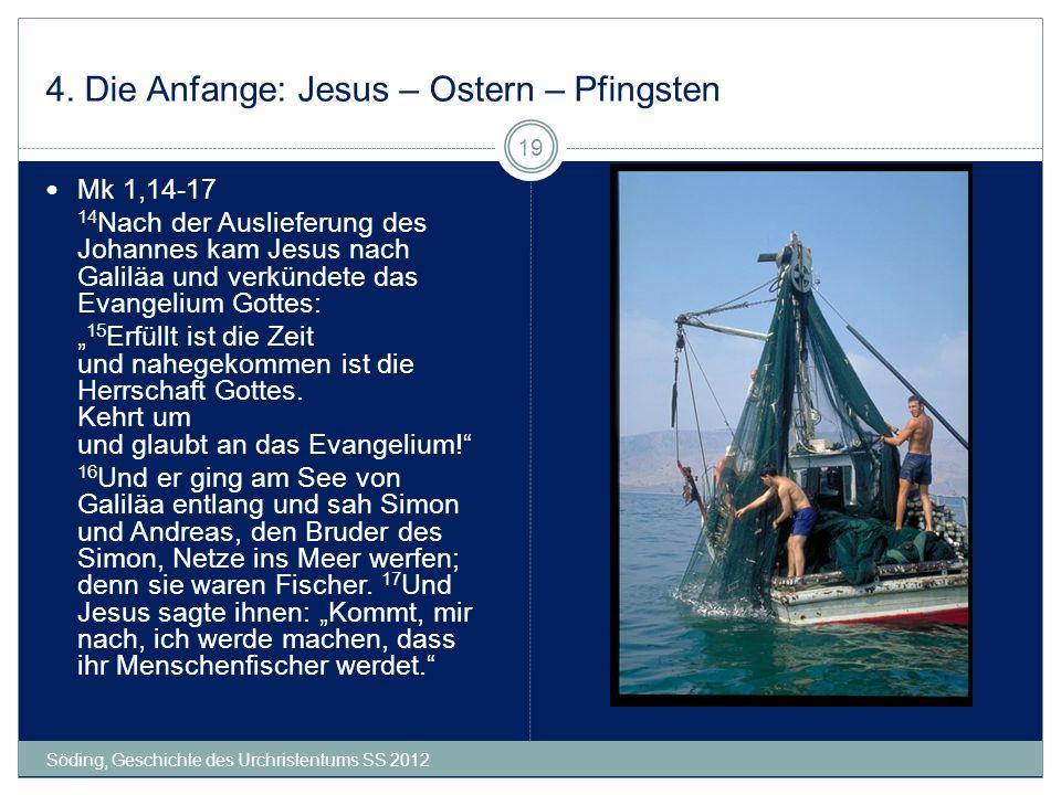 4. Die Anfange: Jesus – Ostern – Pfingsten Söding, Geschichte des Urchristentums SS 2012 19 Mk 1,14-17 14 Nach der Auslieferung des Johannes kam Jesus