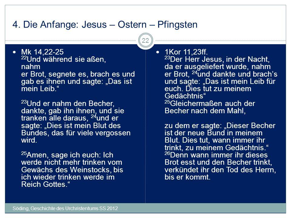 4. Die Anfange: Jesus – Ostern – Pfingsten Söding, Geschichte des Urchristentums SS 2012 22 Mk 14,22-25 22 Und während sie aßen, nahm er Brot, segnete