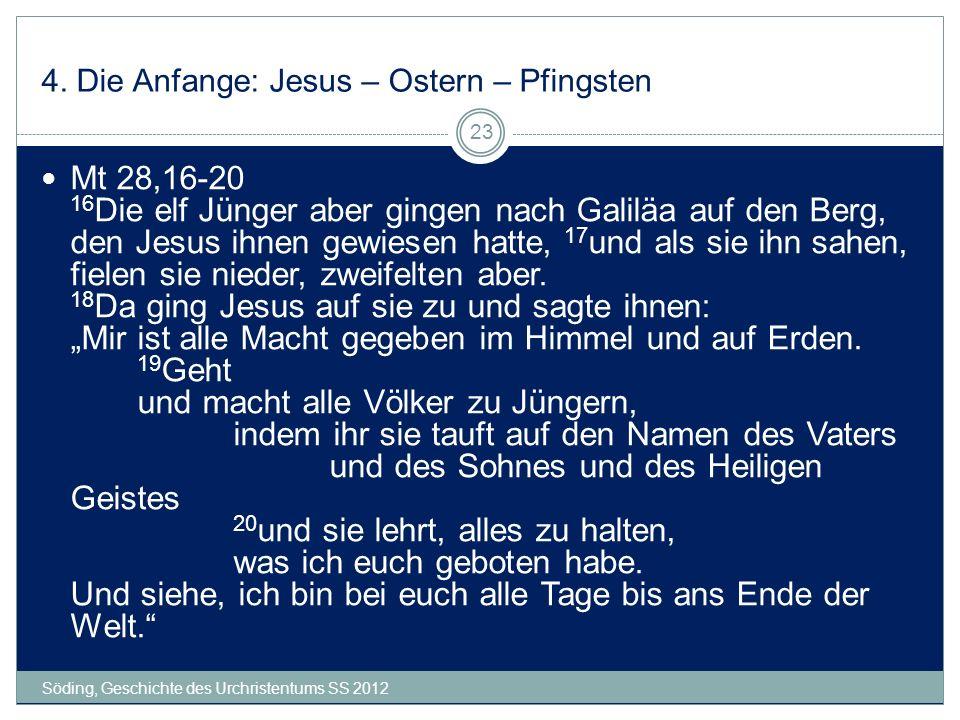 4. Die Anfange: Jesus – Ostern – Pfingsten Söding, Geschichte des Urchristentums SS 2012 23 Mt 28,16-20 16 Die elf Jünger aber gingen nach Galiläa auf