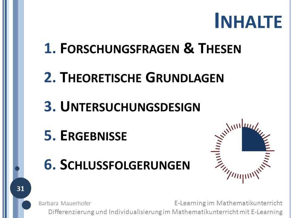 I NHALTE 1. F ORSCHUNGSFRAGEN & T HESEN 2. T HEORETISCHE G RUNDLAGEN 3. U NTERSUCHUNGSDESIGN 5. E RGEBNISSE 6. S CHLUSSFOLGERUNGEN 31 Barbara Mauerhof