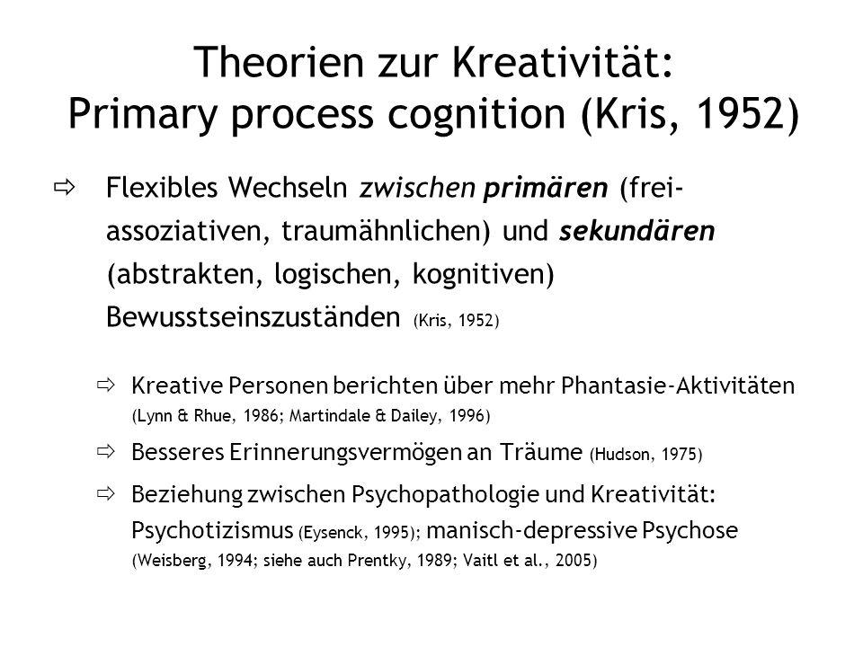 Theorien zur Kreativität: Primary process cognition (Kris, 1952) Flexibles Wechseln zwischen primären (frei- assoziativen, traumähnlichen) und sekundä
