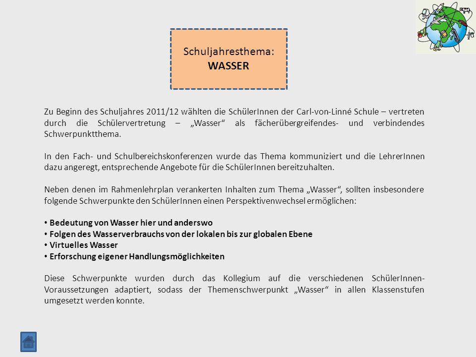 Schuljahresthema: WASSER Zu Beginn des Schuljahres 2011/12 wählten die SchülerInnen der Carl-von-Linné Schule – vertreten durch die Schülervertretung