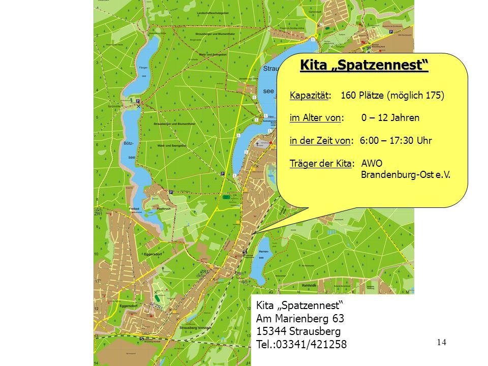 14 Kita Spatzennest Kita Spatzennest Kapazität: 160 Plätze (möglich 175) im Alter von: 0 – 12 Jahren in der Zeit von: 6:00 – 17:30 Uhr Träger der Kita