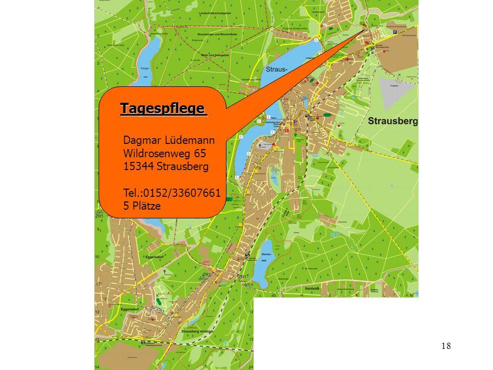18 Tagespflege Dagmar Lüdemann Wildrosenweg 65 15344 Strausberg Tel.:0152/33607661 5 Plätze