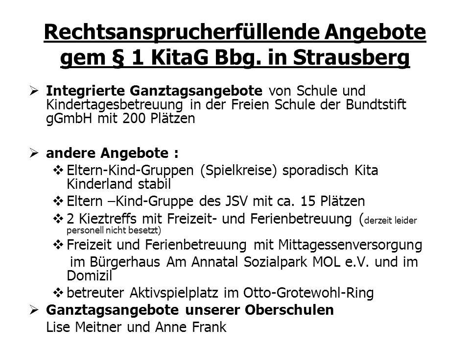 Rechtsansprucherfüllende Angebote gem § 1 KitaG Bbg. in Strausberg Integrierte Ganztagsangebote von Schule und Kindertagesbetreuung in der Freien Schu