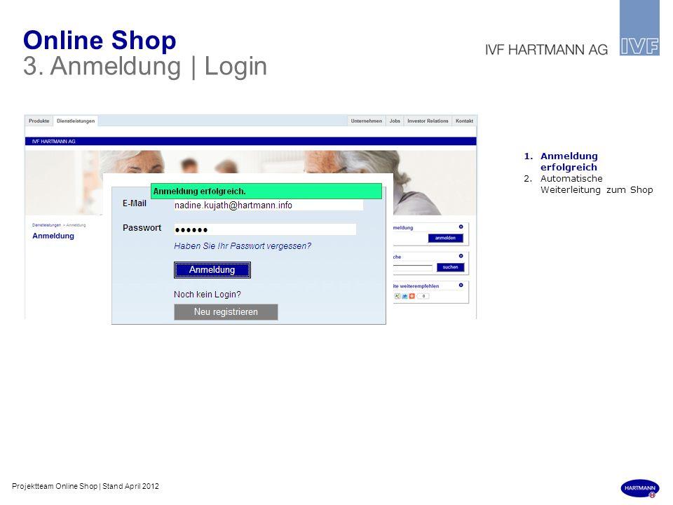 Online Shop 3. Anmeldung | Login 1.Anmeldung erfolgreich 2.Automatische Weiterleitung zum Shop Projektteam Online Shop | Stand April 2012