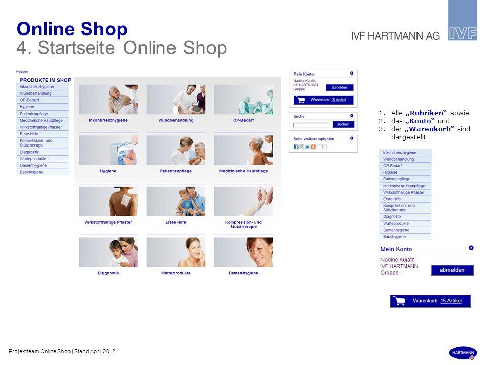 Online Shop 4. Startseite Online Shop 1.Alle Rubriken sowie 2.das Konto und 3.der Warenkorb sind dargestellt Projektteam Online Shop | Stand April 201