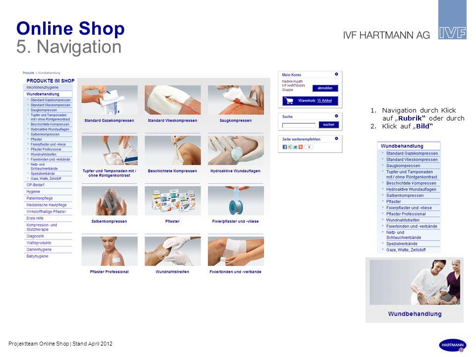 Online Shop 5. Navigation 1.Navigation durch Klick auf Rubrik oder durch 2.Klick auf Bild Projektteam Online Shop | Stand April 2012