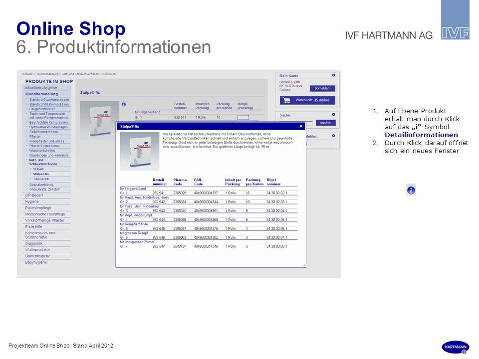 Online Shop 6. Produktinformationen 1.Auf Ebene Produkt erhält man durch Klick auf das i-Symbol Detailinformationen 2.Durch Klick darauf öffnet sich e