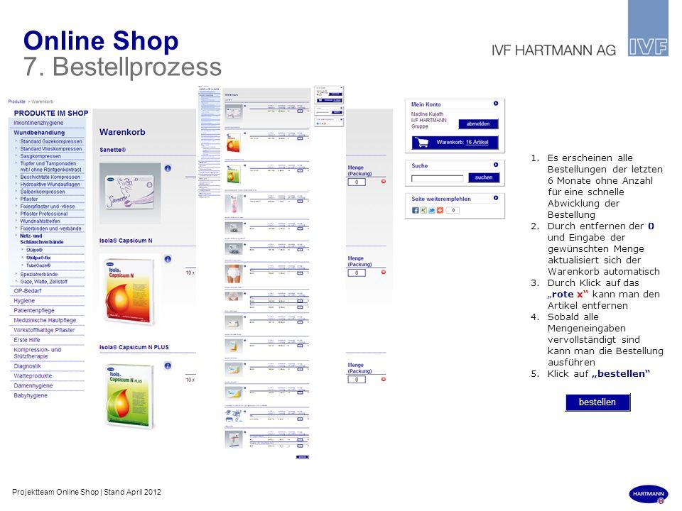 Online Shop 7. Bestellprozess 1.Es erscheinen alle Bestellungen der letzten 6 Monate ohne Anzahl für eine schnelle Abwicklung der Bestellung 2.Durch e