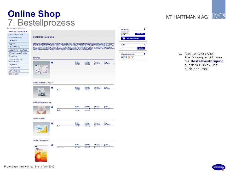 Online Shop 7. Bestellprozess 1.Nach erfolgreicher Ausführung erhält man die Bestellbestätigung auf dem Display und auch per Email Projektteam Online
