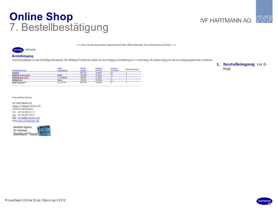 Online Shop 7. Bestellbestätigung 1.Bestelleingang via E- Mail Projektteam Online Shop | Stand April 2012
