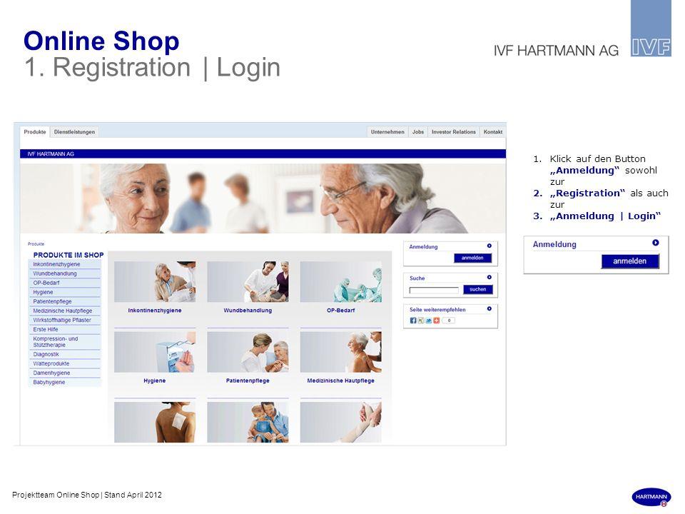 Online Shop 1. Registration | Login 1.Klick auf den Button Anmeldung sowohl zur 2.Registration als auch zur 3.Anmeldung | Login Projektteam Online Sho
